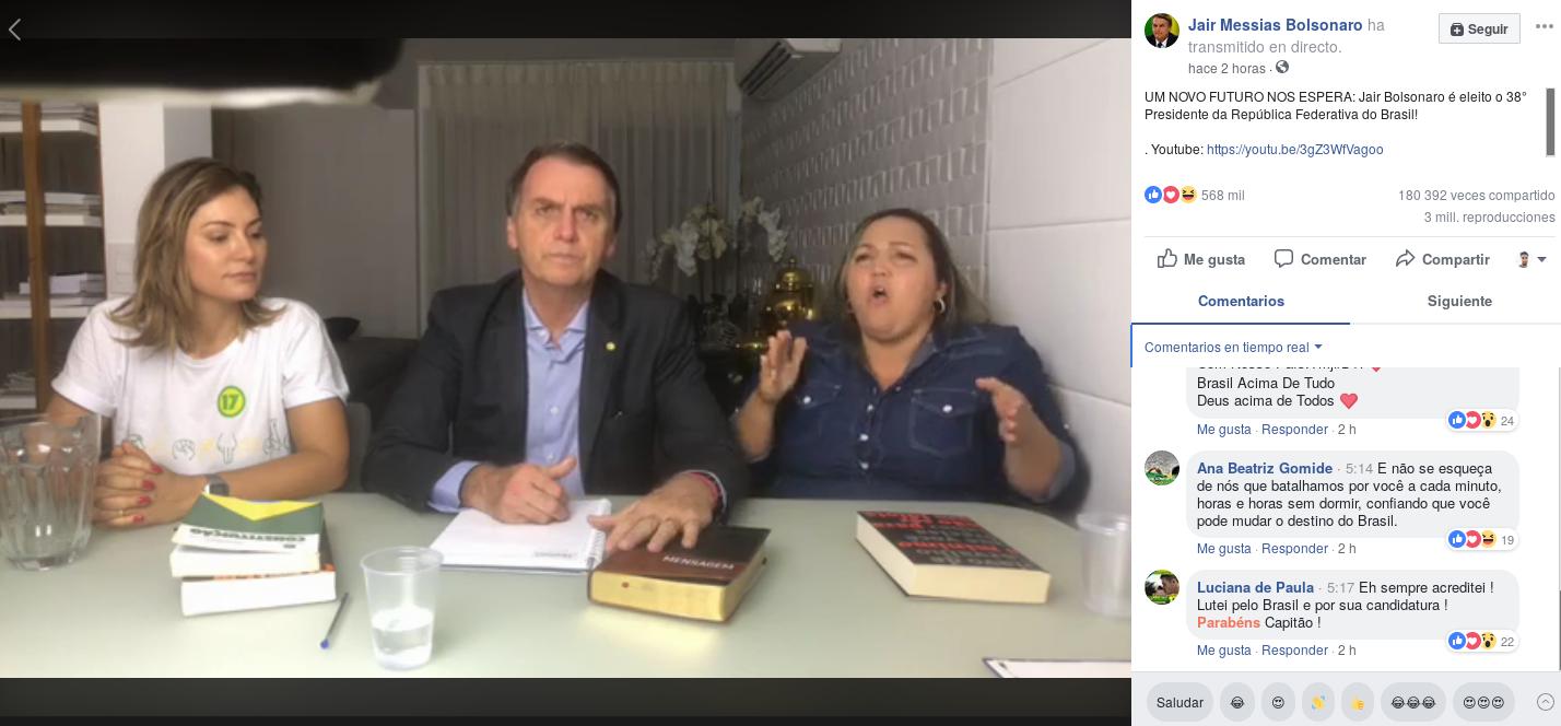 Facebook Live de Jair Bolsonaro