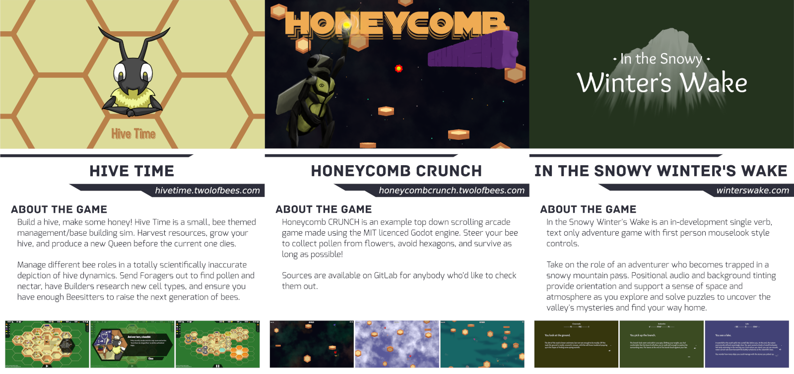 Flyers or Hive Time, Honeycomb CRUNCH and Winter's Wake