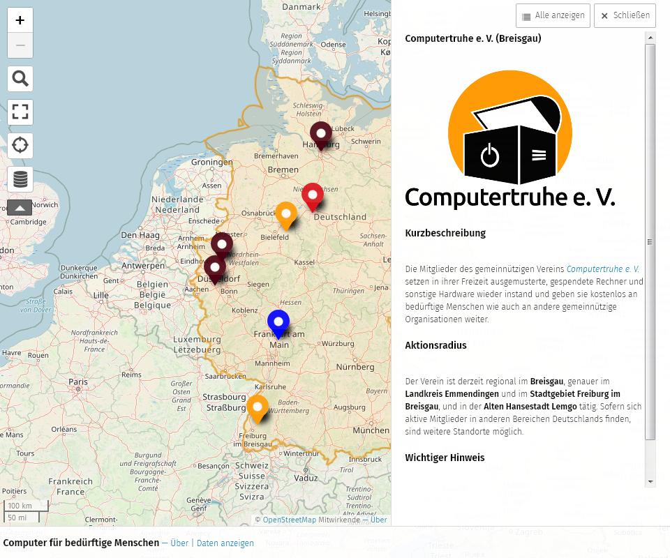 Karte, auf der die Fläche Deutschlands farblich hervorgehoben wurde, und in der sich sieben unterschiedlich gefärbte Markierungen befinden. Des Weiteren gibt es auf der rechten Seite einen aufgeklappten Bereich, der weitere Informationen zum ausgewählten Karteneintrag enthält.