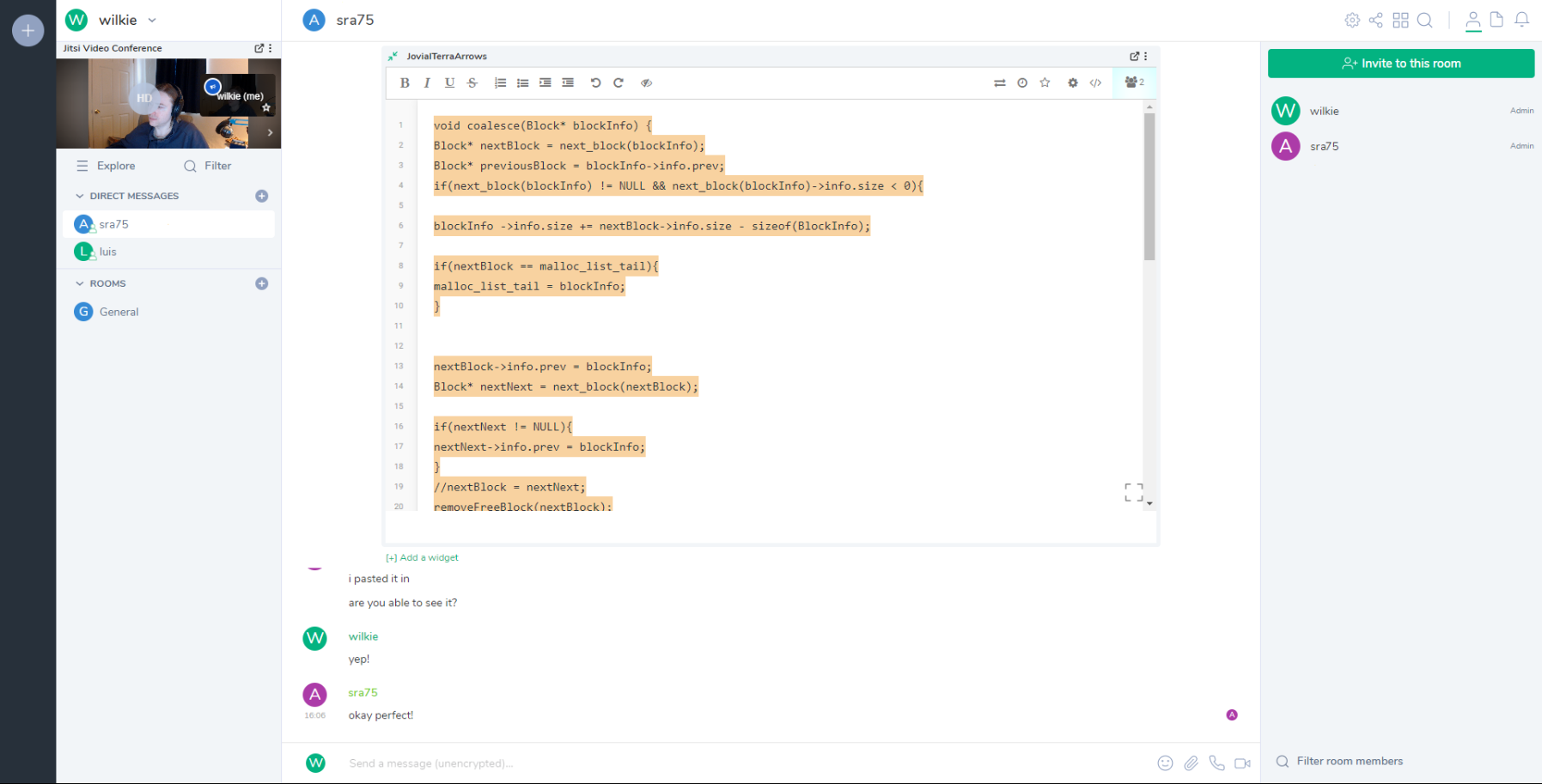 screenshot of riot, which is a slack-like thing, with a webcam of me in the corner and an etherpad showing some code in a direct message section with a student