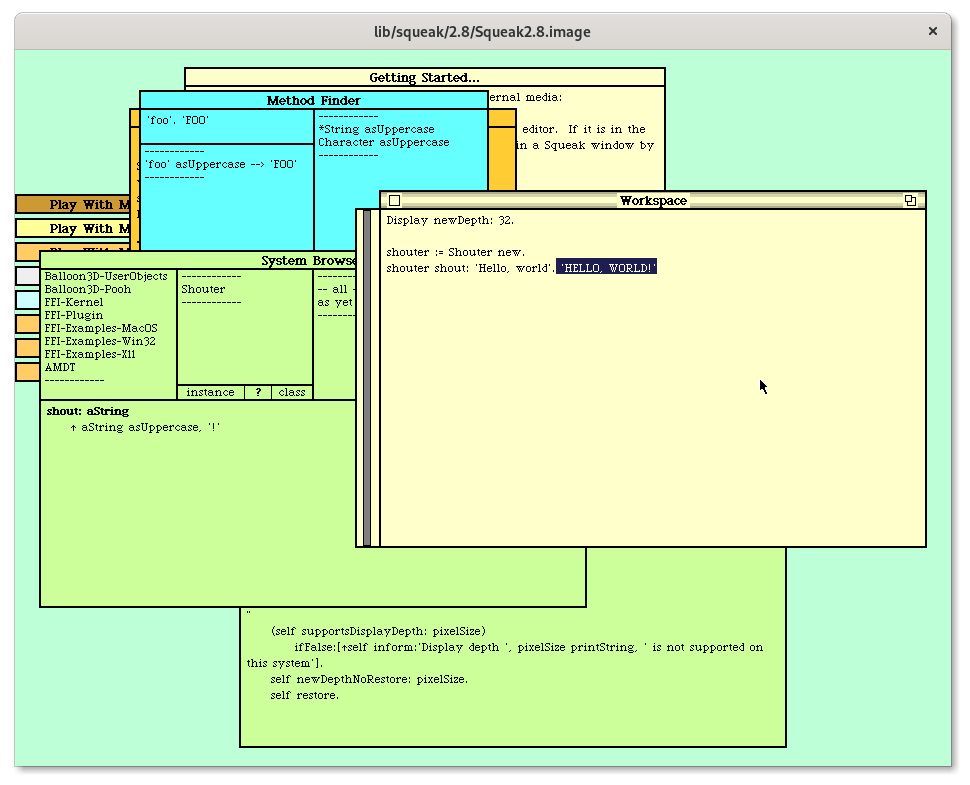 The usual arrangement of windows is available but now in solid, pastel colours reminiscent of sticky notes. The windows have thick, black borders. The text rendering has no anti-aliasing. Only the scrollbar for the view the mouse is resting over appears, and it does so outside of the view, to the left.