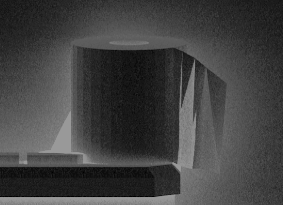 An inverted black and white low poly render of a toilet roll sitting on a cistern