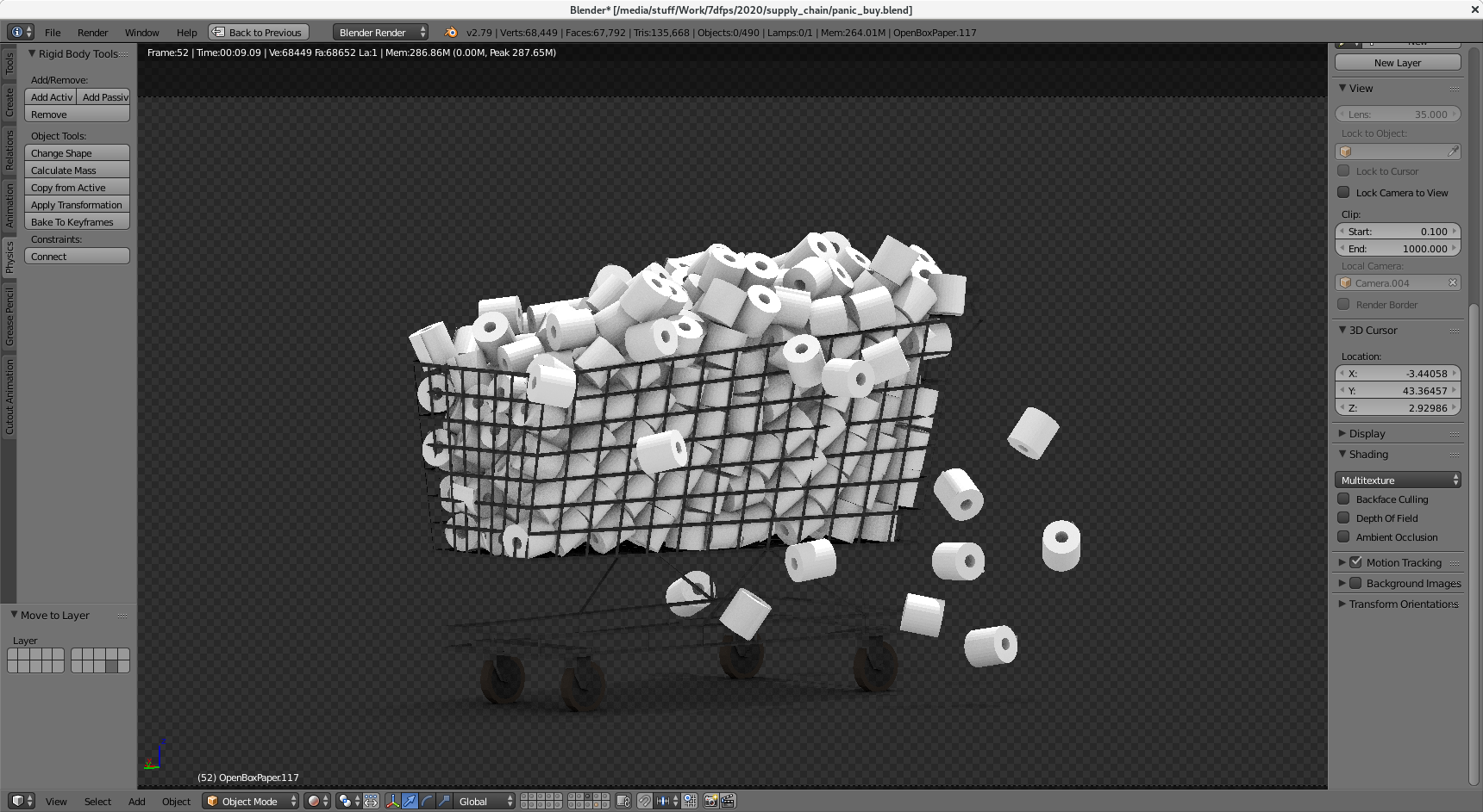 A low poly render of a shopping trolley full of toilet paper
