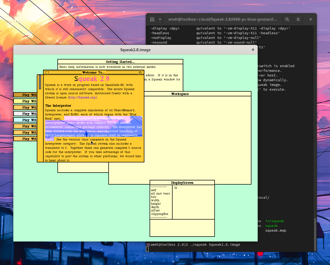Screenshot of Squeak and a GNOME Terminal. Almost all of the colours in the Squeak window are opaque, except for a text selection, the background of which is completely transparent.