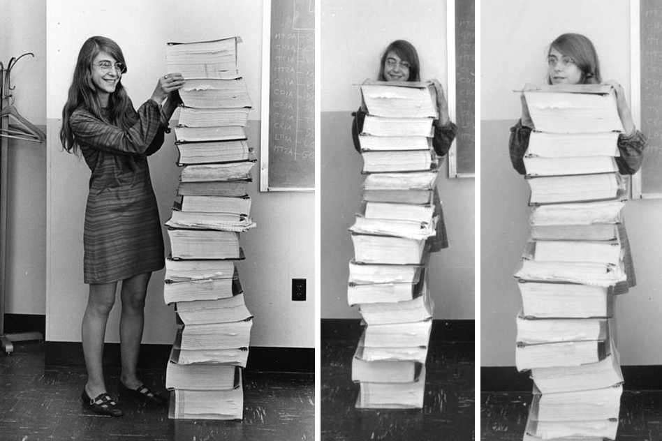 Three views of Margaret Hamilton standing next to the pile of software code written by the MIT team for Apollo, 1969