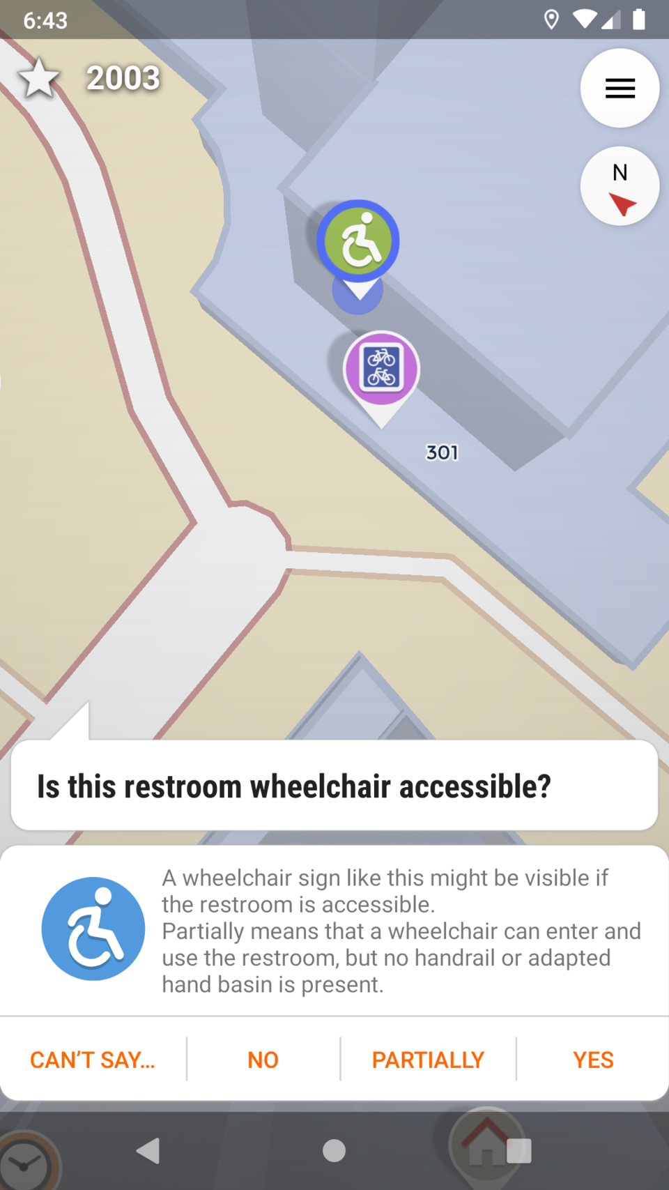 Screenshot of StreetComplete asking you whether a restroom is wheelchair-accessible.