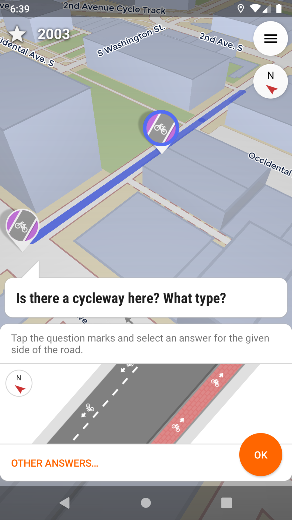 Screenshot of StreetComplete asking you whether a road includes a cycle path.