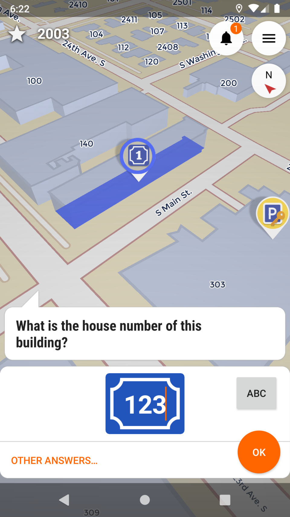Screenshot of StreetComplete asking you for the house number of a building.