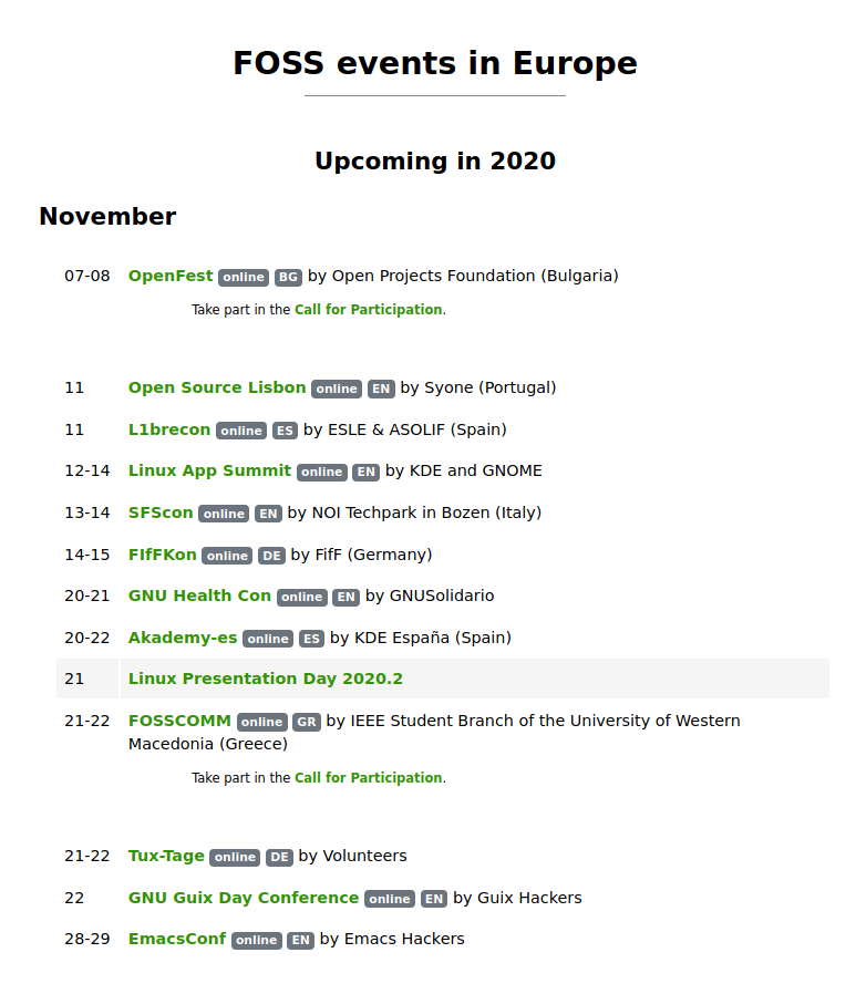 screenshot of // foss.events showing online events in november