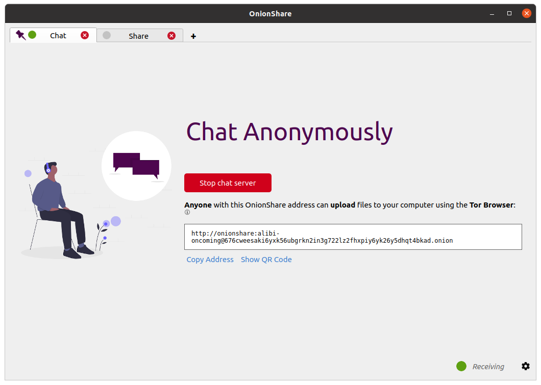 "Screenshot of OnionShare's new ""Chat Anonymously"" feature"