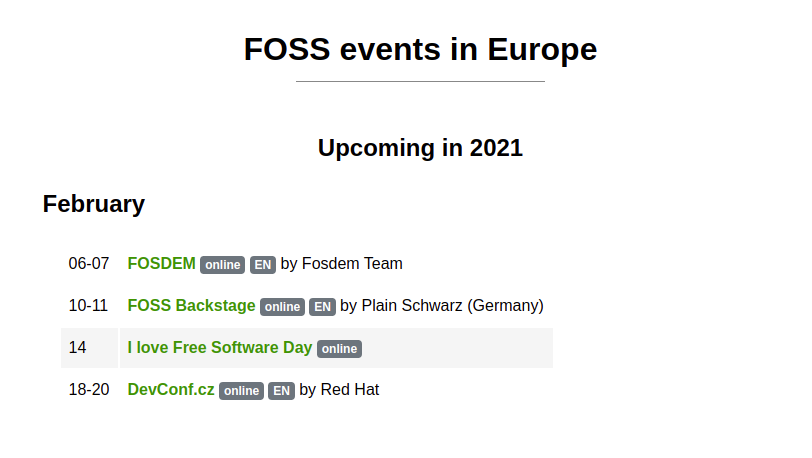 Screenshot for https://foss.events showing events in 2021