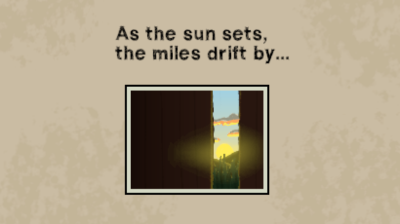 A low res painting of a sunset seen through a partially open train car door