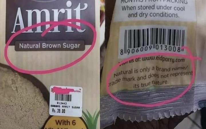 Natural Brown Sugar<br /><br />Natural is only a brand name/trade mark and does not represent its true nature.