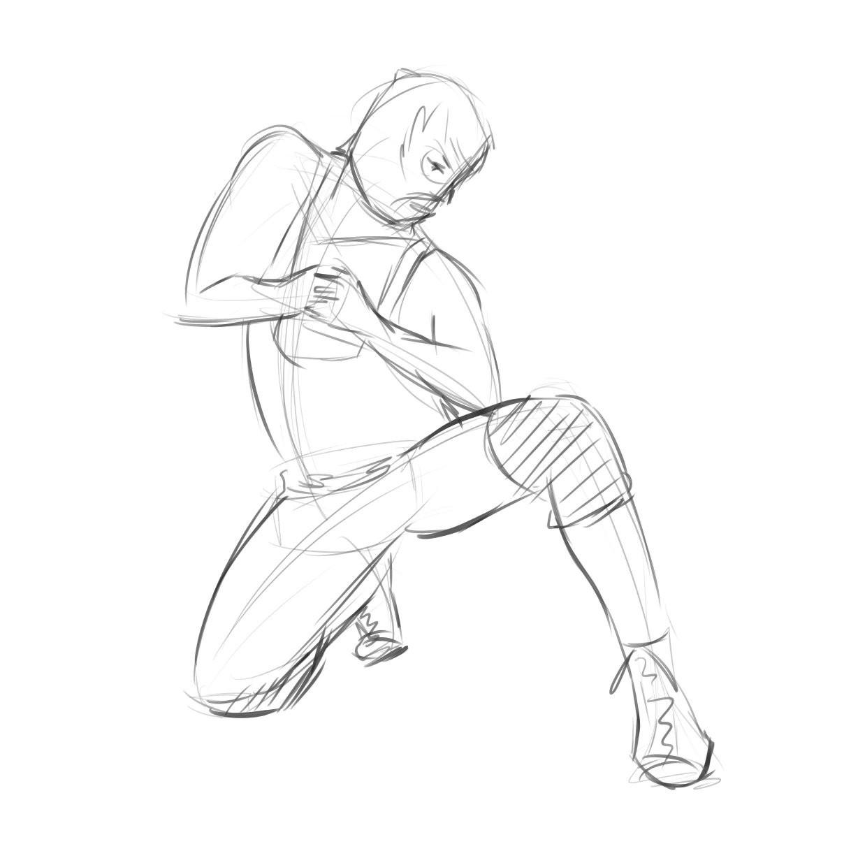Luchador crouching.
