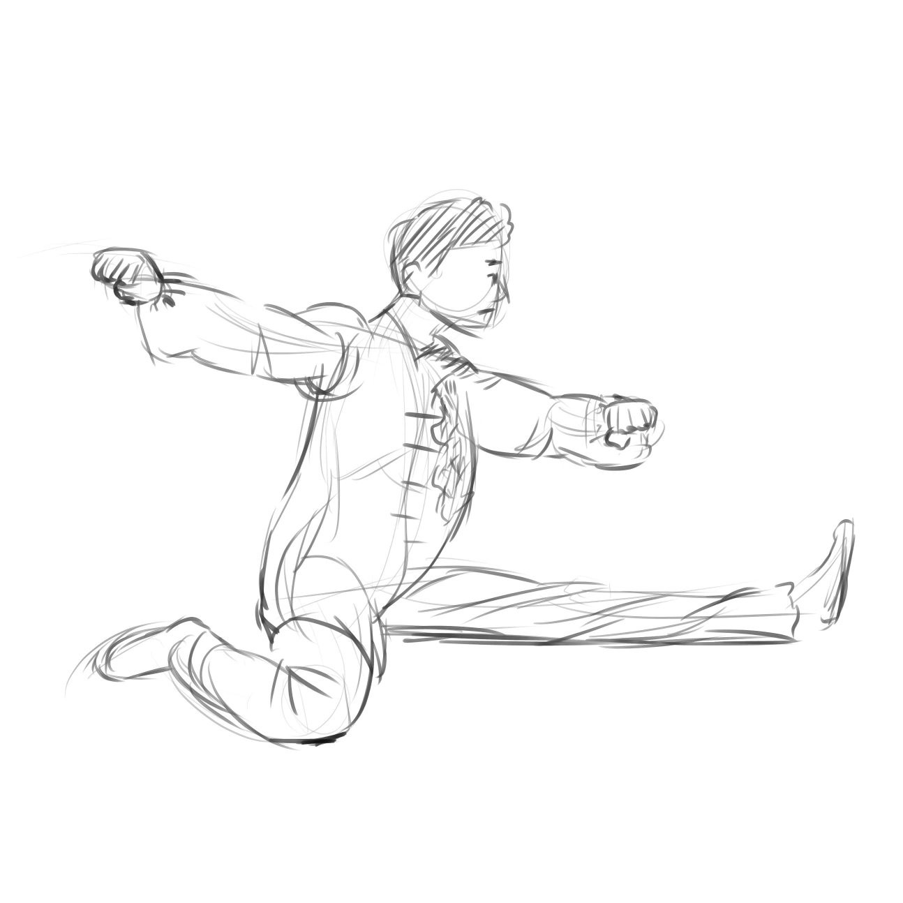 Man in Chinese-style clothes doing a split.